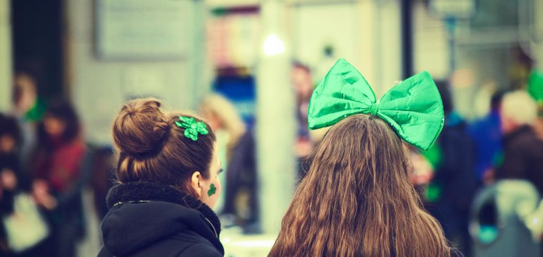 Girls with green bows on their heads
