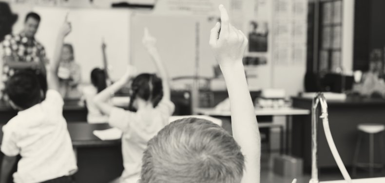 Students raising their hands in classroom