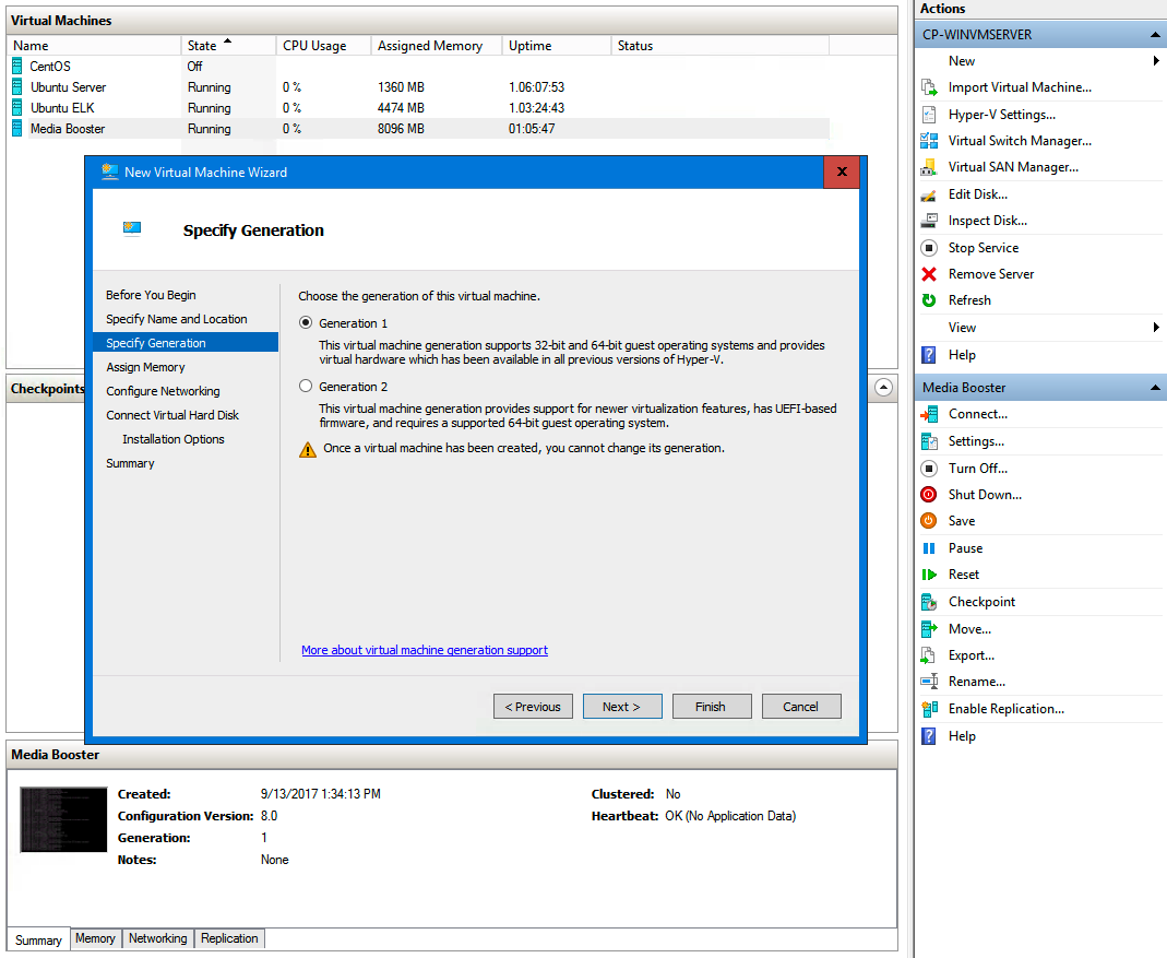 HyperV installation screen