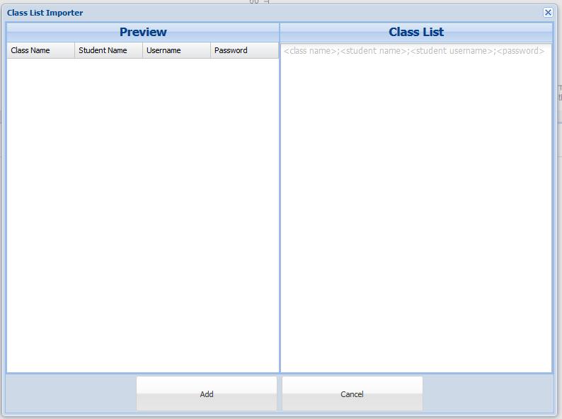 Add classes modal window