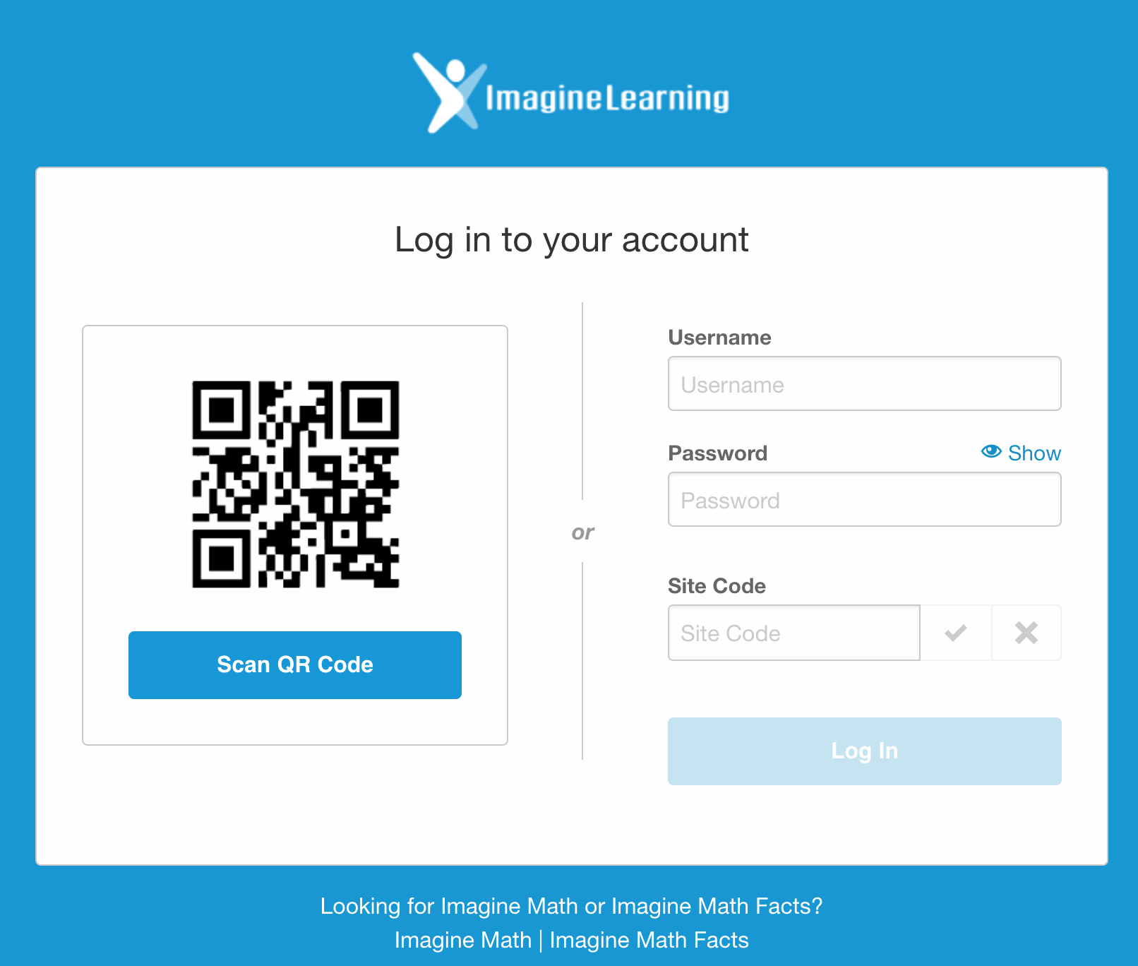 This image shows the Imagine Language & Literacy login interface.